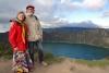 17 We zijn er, Crater de Laguna Quilotoa (3854m) ! Zicht op het vulkanische kratermeer.
