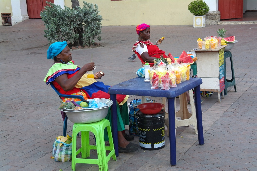 47 vers fruit verkoopsters op Plaza San Pedro Claver