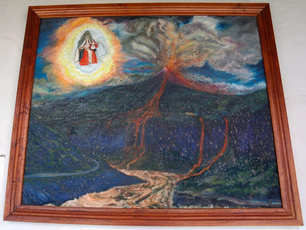 25 schildering van de uitbarsting van vulkaan Tungurahua in de nacht van 16 aug 2006