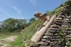 15 voor de hoge piramide en tempelplein, de plaats waar de Mayas hun bijzondere balspel speelden, langs de brede kanten van het veld zijn hoge tribunes