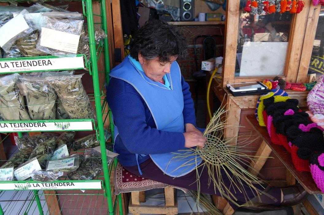 33 mandenvlechtster voor haar kunstnijverheidswinkeltje in Mercado Municipal de Chonchi