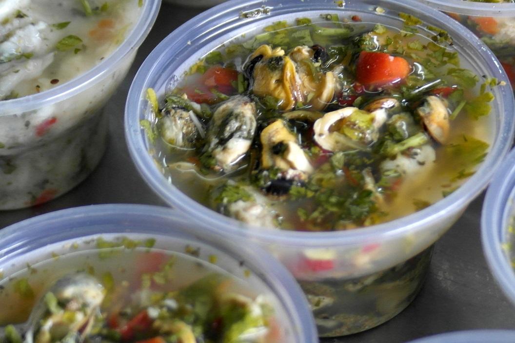20 herkenbaar voor ons in deze mix Ceviche zijn de mosselen