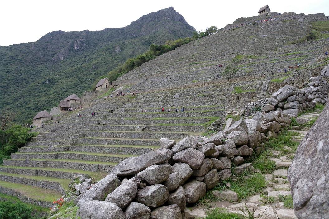12 terrasssen - het agrarische deel met hutten voor opslag van gewassen en gereedschap - bij de ingang van Machu Picchu. Op de top een rechthoekige woning, waarschijnlijk een uitkijkpost
