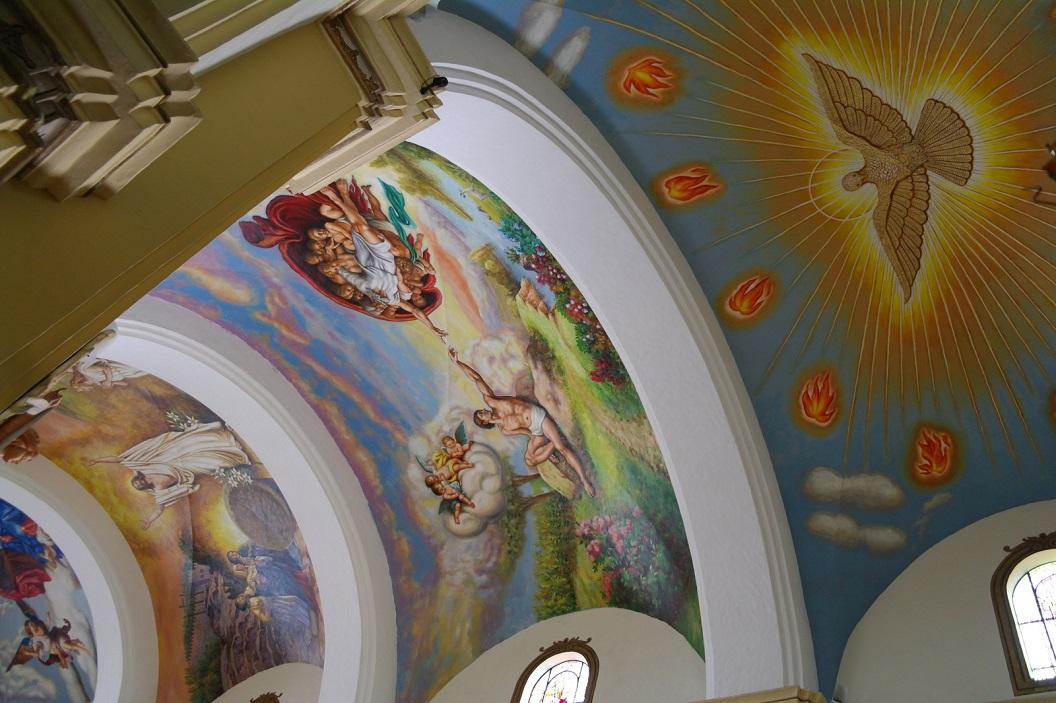 10 detail plafondschildering van de Cathedral
