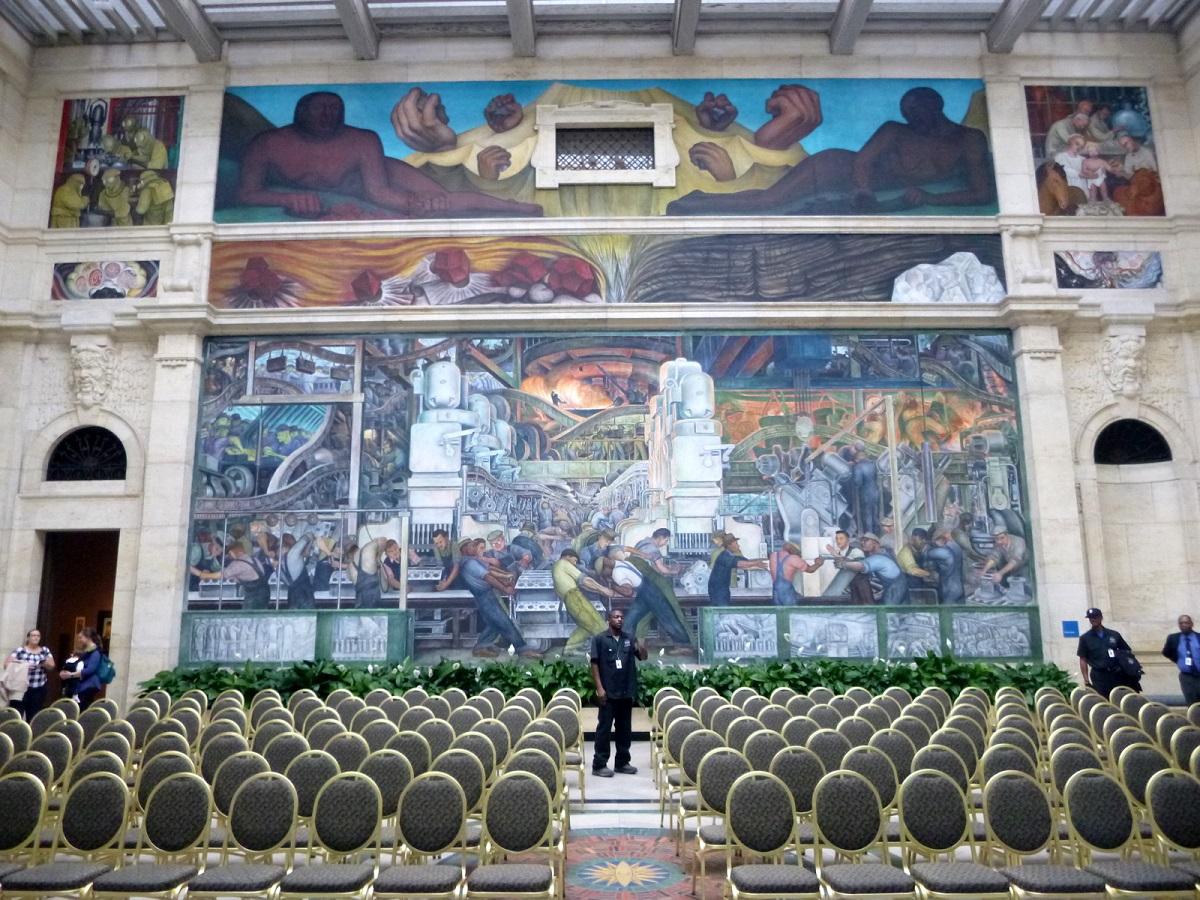 26 de zuidwand The Detroit Industry Murals van Diego Rivera (1886-1957)