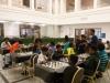 31 kinderen speels en actief aan het schaken. Sinds 130 jaar speelt het Detroit Instituut of arts een belangrijke rol in het culturele leven van Detroit City en de staat of Michigan