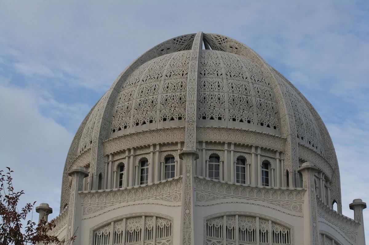 de Baha'i Temple, een plek van meditatie en gebed voor alle religies
