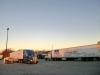 ochtend zon op de Parking en Rest Area - overnachtingsplaats voor groot en klein