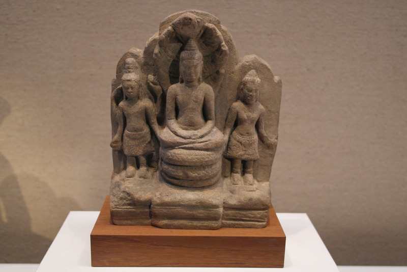 120-buddha-seated-on-naga-snake-deity-and-attendants-thailand-sandstone-lopburi-period-12th-13th-century