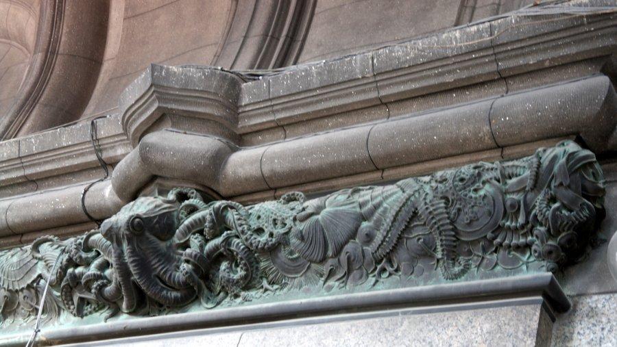 04 rijkversierde decoratieve boven randen,  reliefs van sierlijke zeevruchten
