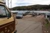 02 met een platte veerboot varen we van San Pablo de Tiquina naar de overkant van Lake Titicaca naar San Pedro de Tiquina