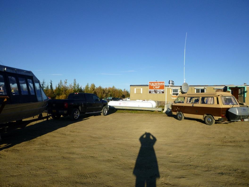12 na onze overnachting in ons busje op Yucon River Camp - de Five Mile campground - smorgens weer op tijd op stap vanuit Yucon River Camp P1030140