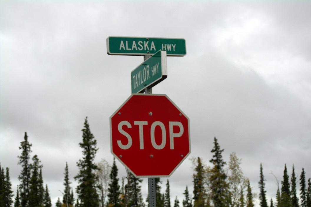 10 afslag naar Alaska Highway, richting Fairbanks SAM_0971