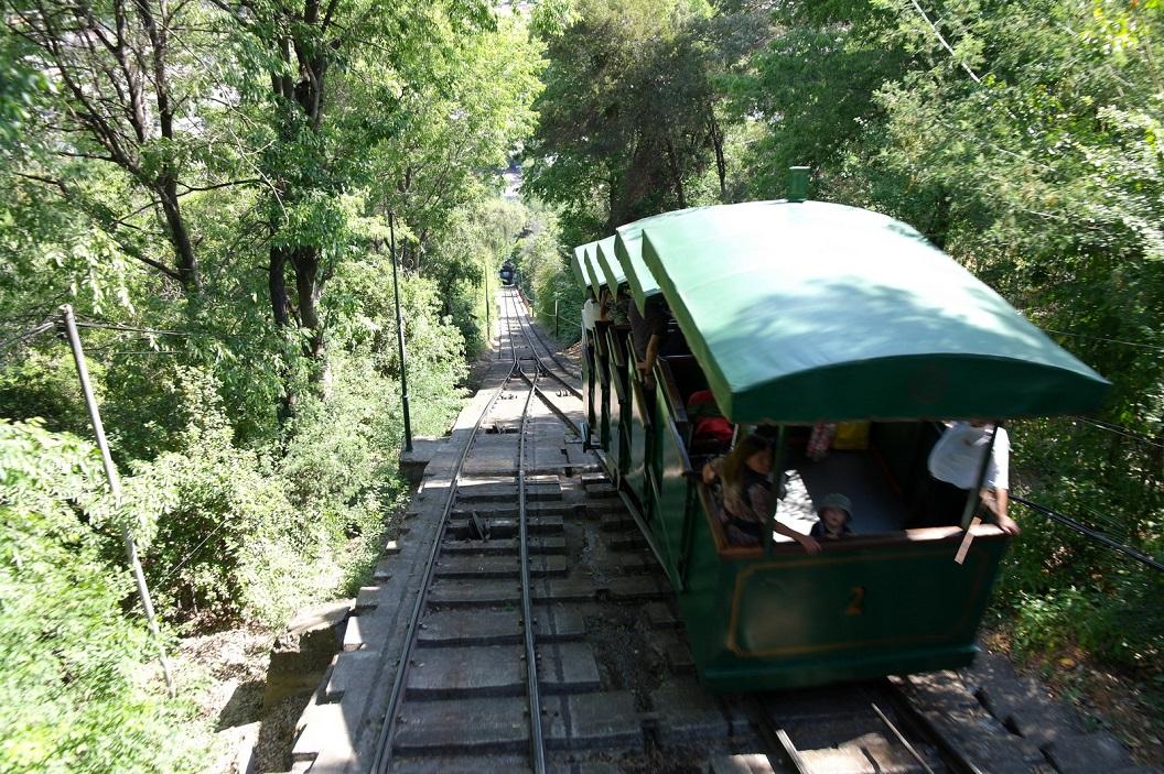 39 Funicular Santiago, kabelspoor naar het uitkijkplatform en de Virgen de la Immaculada Concepcion