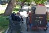 56 Siesta in Parque Forestal aan de kade van de Constanera Norte en voor ons afscheid van Santiago Chili