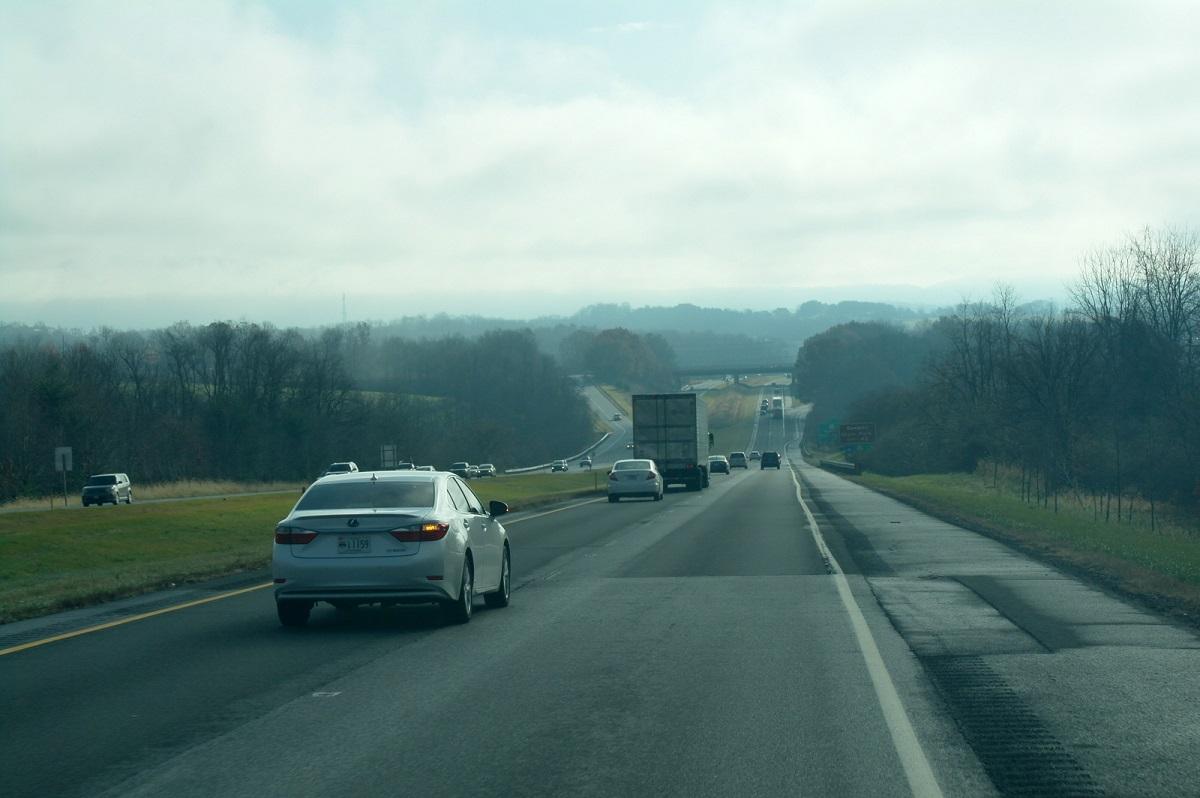 14 op de 395, in de vroege ochtend op weg naar Washington DC