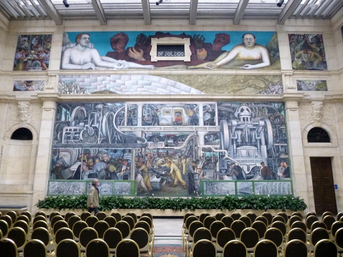 28 de noordwand The Detroit Industry Murals van Diego Rivera (1886-1957)
