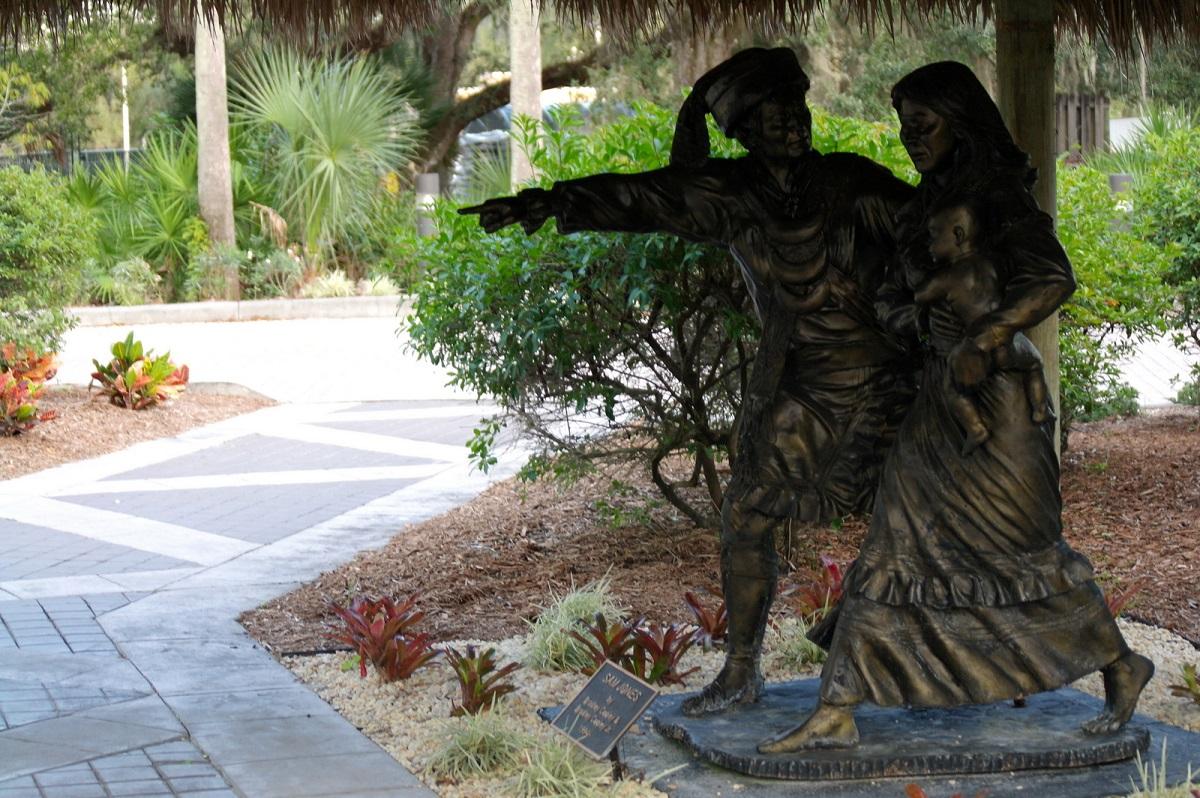 29 Sam Jones (door Bradley Cooley -1994) wijst waar doorheen te waden, in het hart van de Everglades nu een Seminole Indian Reservaat