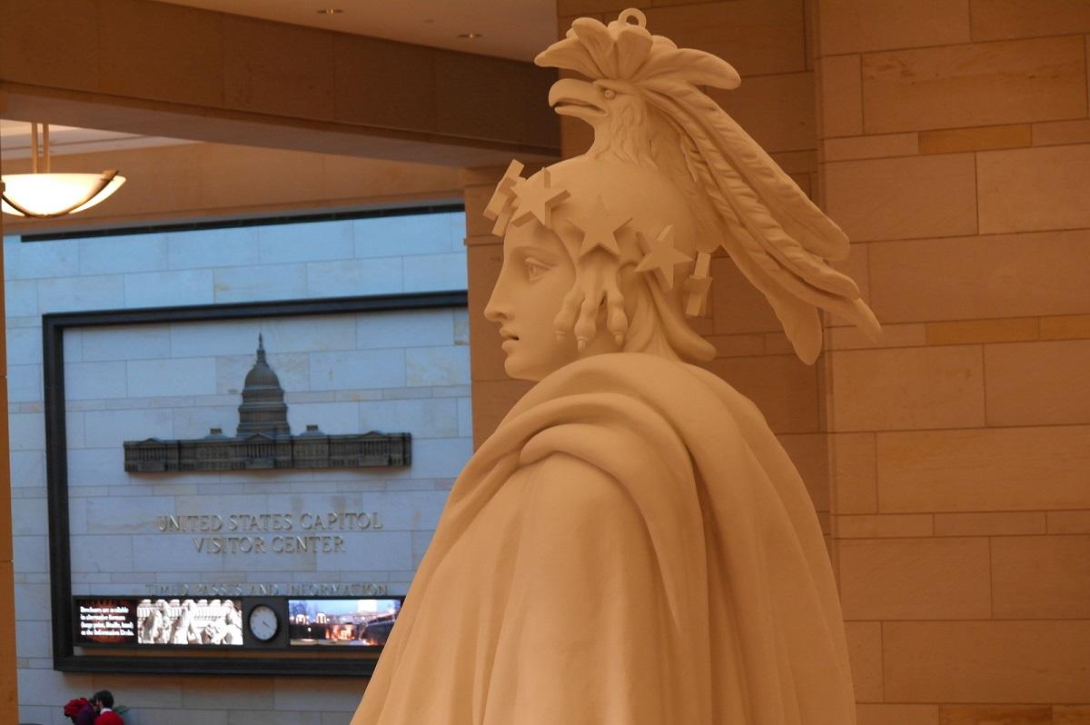 "3 in Emancipation Hall – detail van model ""The Statue of Freedom"" - op het Capitol Dome"