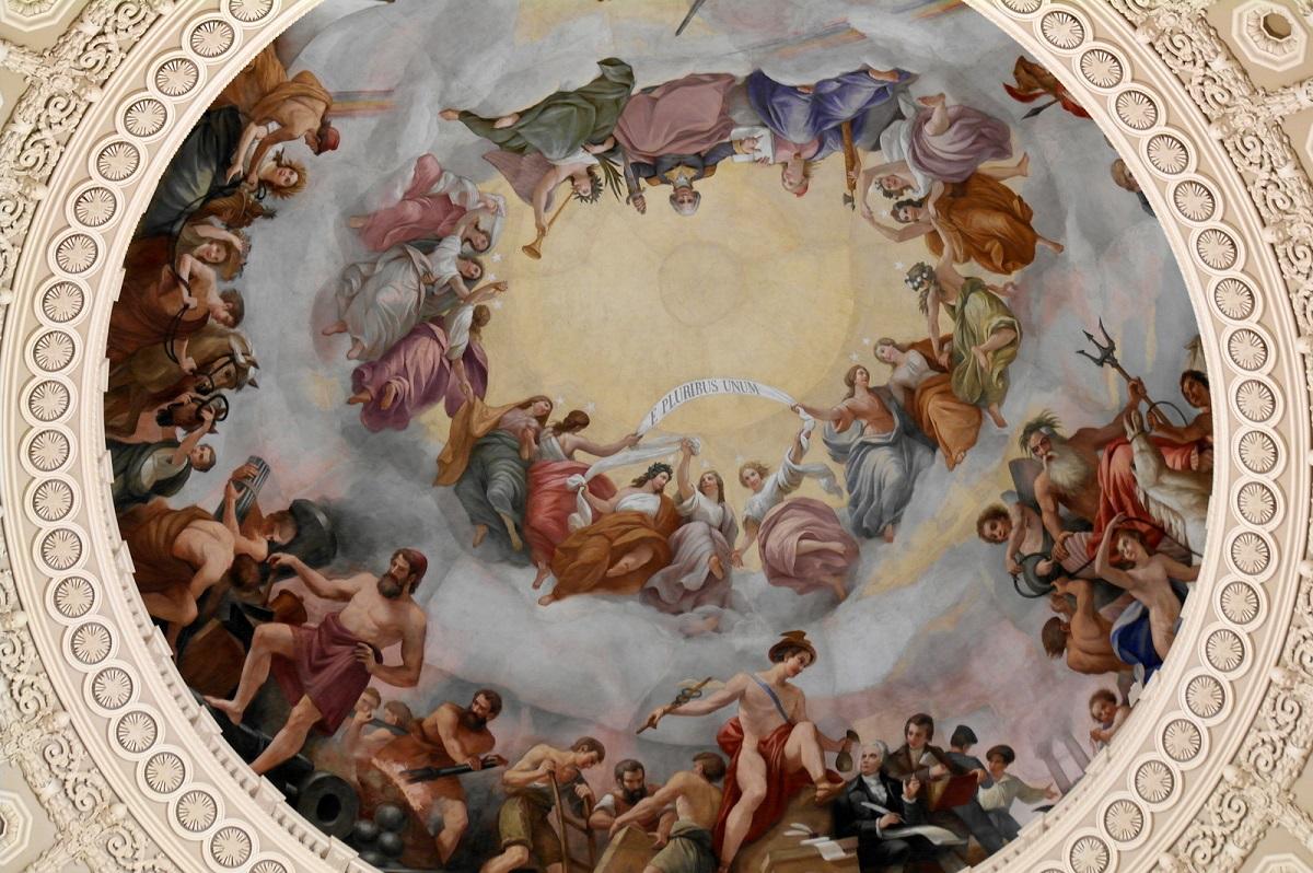 "6 ""The Apotheosis of Washington"" 1865 - plafondschildering door Constantino Brumidi Capitotol Dome"